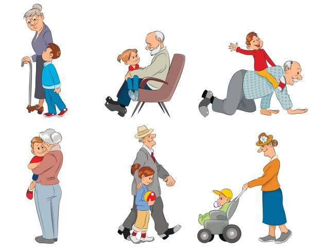 ilustraciones, imágenes clip art, dibujos animados e iconos de stock de abuelos y grandsons - nieto