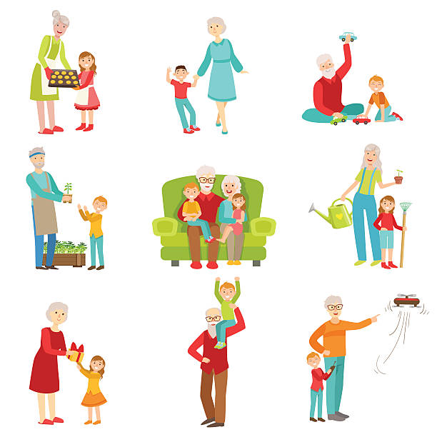 ilustraciones, imágenes clip art, dibujos animados e iconos de stock de grandparents and kids having fun together set of illustrations - abuelos