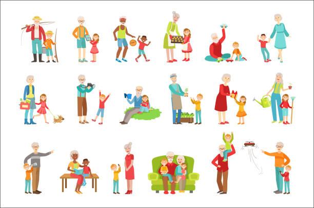 ilustraciones, imágenes clip art, dibujos animados e iconos de stock de abuelos y niños pasando tiempo juntos conjunto de ilustraciones - nietos