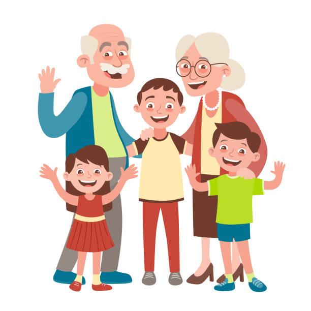 ilustraciones, imágenes clip art, dibujos animados e iconos de stock de retrato de tres nietos y abuelos - nieta