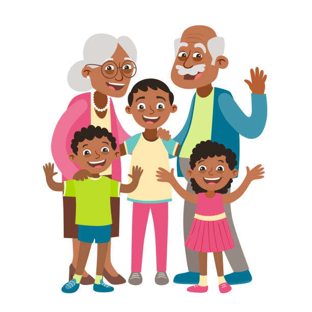 grandparents and three grandchildren portrait - old man in black stock illustrations, clip art, cartoons, & icons