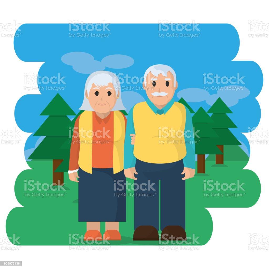 Großeltern cartoon-design – Vektorgrafik