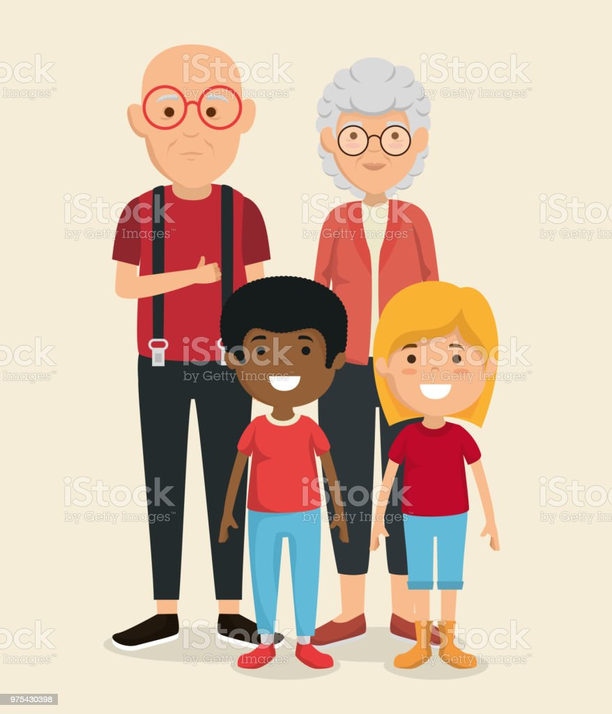 grandparents couple with kids avatars characters vector art illustration