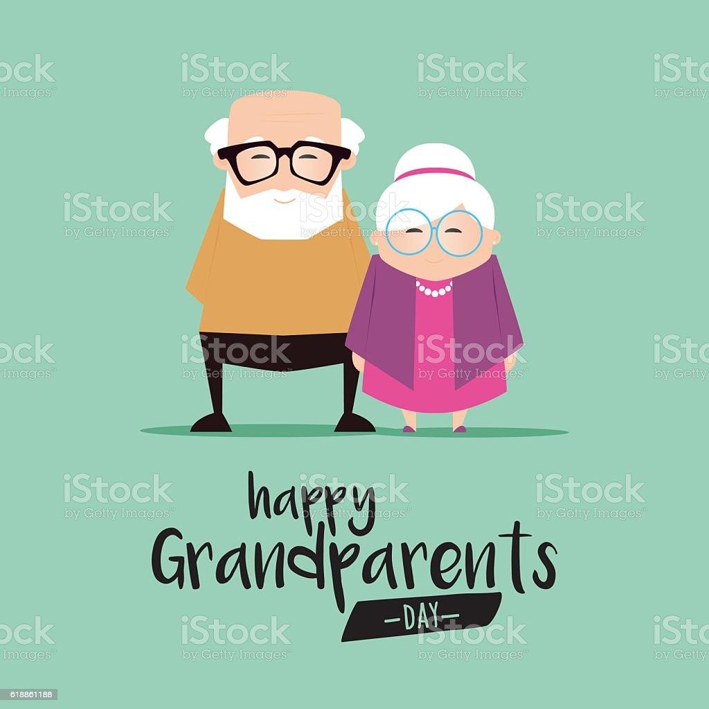 祖父母日の背景 ベクターアートイラスト