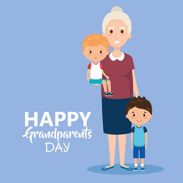 ilustraciones, imágenes clip art, dibujos animados e iconos de stock de tarjeta del día de abuelos con la abuela y geandchildren - nietos