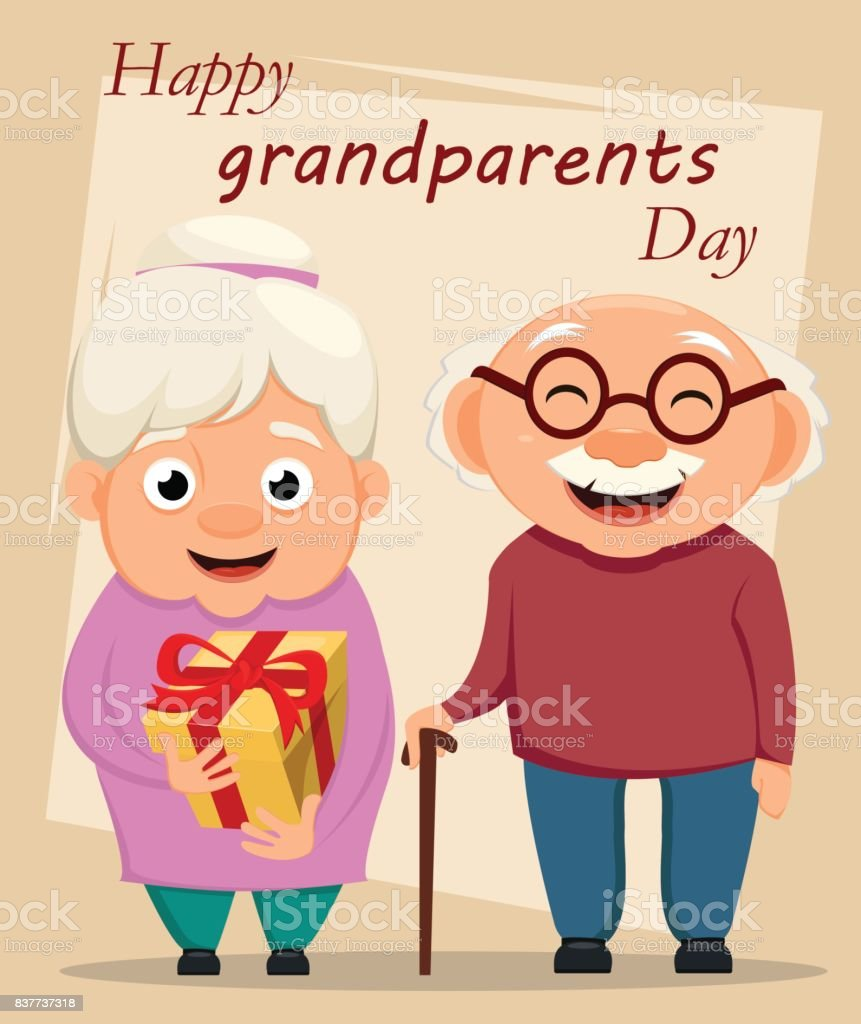 Grandparents Day Greeting Card Grandmother And Grandfather Standing