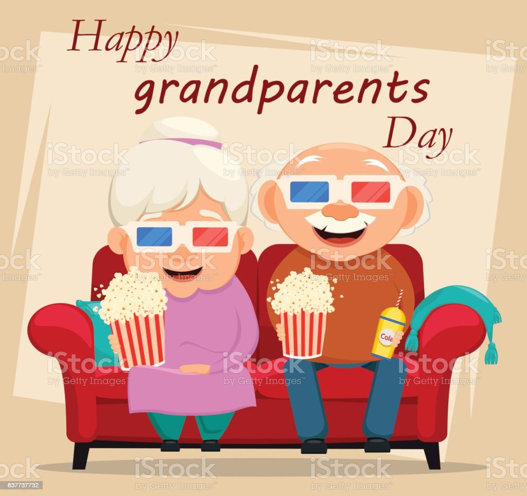 Grandparents Day Greeting Card Grandmother And Grandfather Watching