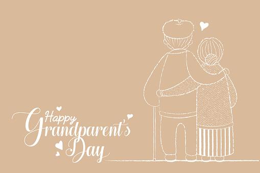 Grandparent's day - line art cartoon senior couple hugging together