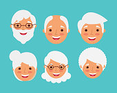 grandparents faces happy smiling elderly character