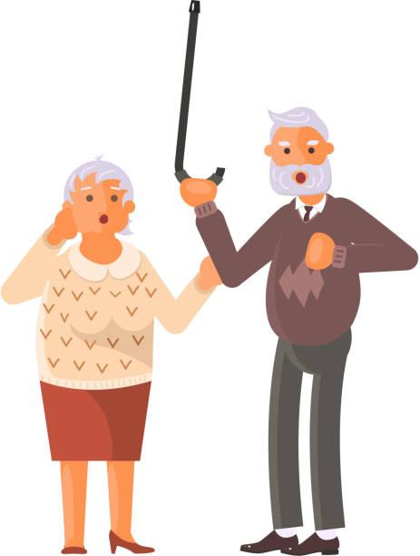 grandparents family seniors screaming in horror - old man crying clip art stock illustrations, clip art, cartoons, & icons