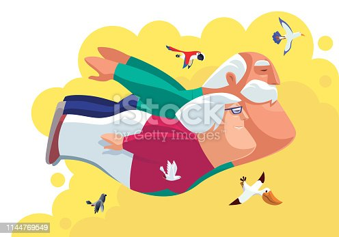 istock grandparents flying with birds 1144769549