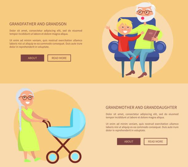 ilustraciones, imágenes clip art, dibujos animados e iconos de stock de carteles de nieta y nieto de abuelos - nieto