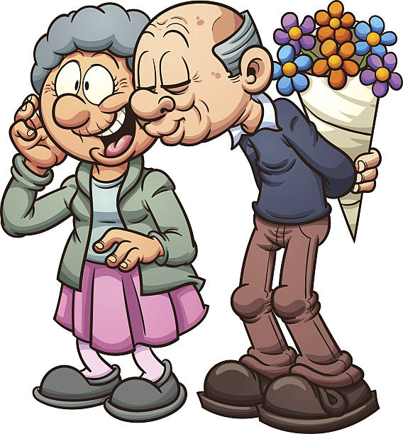 grandparents in love - old man kissing stock illustrations, clip art, cartoons, & icons