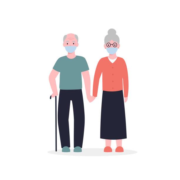 grandparents in medical masks vector art illustration