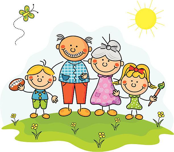 Abuelos de los niños - ilustración de arte vectorial
