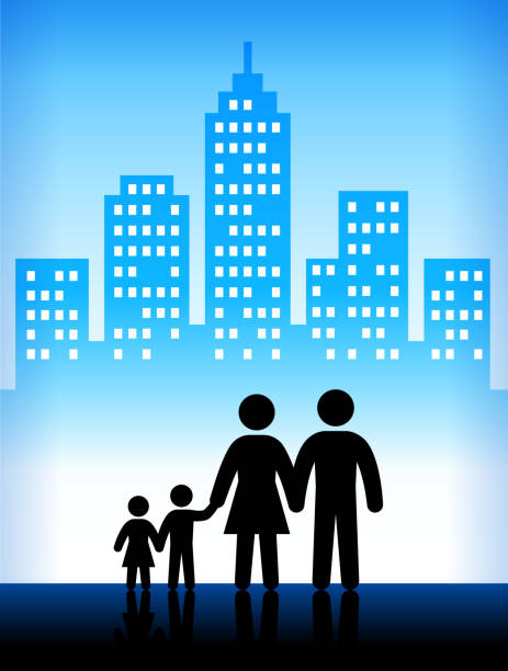 grandparents modern city background - old man stick figure silhouette stock illustrations, clip art, cartoons, & icons