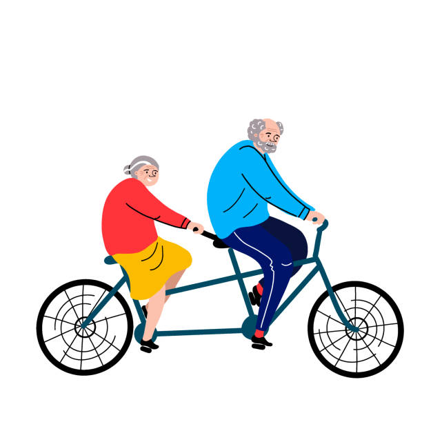 grandparents on a bicycle. vector flat portrait of old cute loving couple riding double bike. cartoon style. love forever. character illustration. - old man portrait clip art stock illustrations, clip art, cartoons, & icons