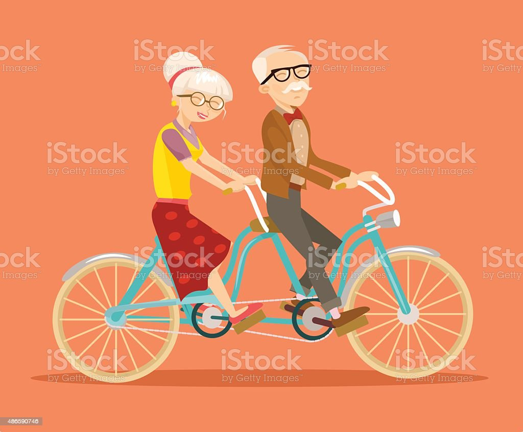 Grandparents on bicycle. Vector flat illustration vector art illustration