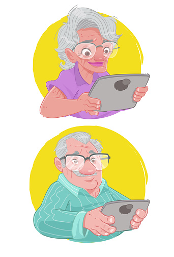 Grandparents on tablets