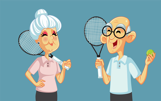 Grandparents Playing Tennis Together Vector Cartoon