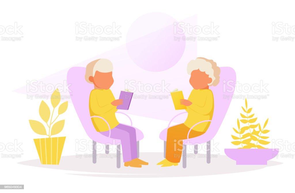 Grandparents sit in chairs and read grandparents sit in chairs and read - stockowe grafiki wektorowe i więcej obrazów babka - dziadek i babcia royalty-free