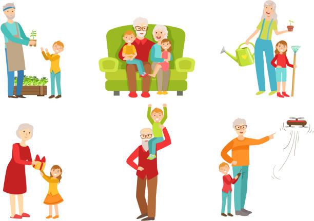 ilustraciones, imágenes clip art, dibujos animados e iconos de stock de abuelos pasando tiempo con nietos set, abuelo y abuela jugando, trabajando en el jardín, divirtiéndose con sus nietos y nietas ilustración vectorial - nieta
