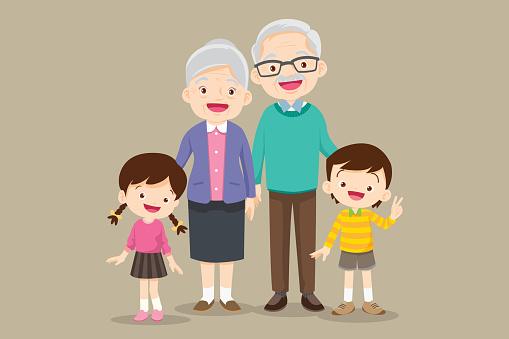grandparents standing with grandchildren