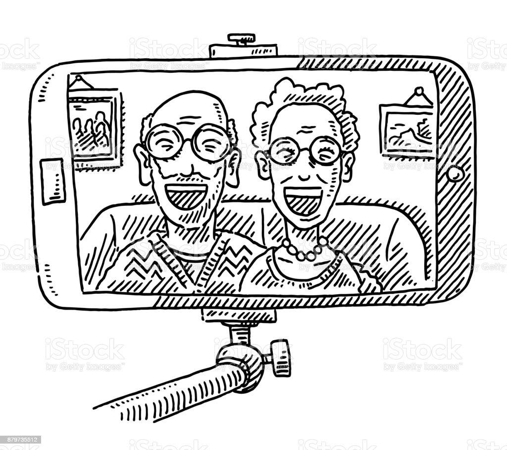 grandparents taking a selfie drawing stock vector art