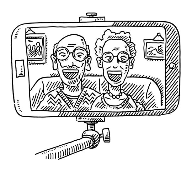 Grandparents Taking A Selfie Drawing Hand-drawn vector drawing of Grandparents, who are Taking A Selfie. Black-and-White sketch on a transparent background (.eps-file). Included files are EPS (v10) and Hi-Res JPG. women stock illustrations