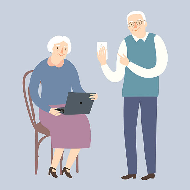 grandparents using internet - old man computer silhouette stock illustrations, clip art, cartoons, & icons