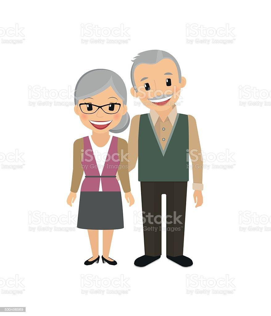 Grandparents vector art illustration