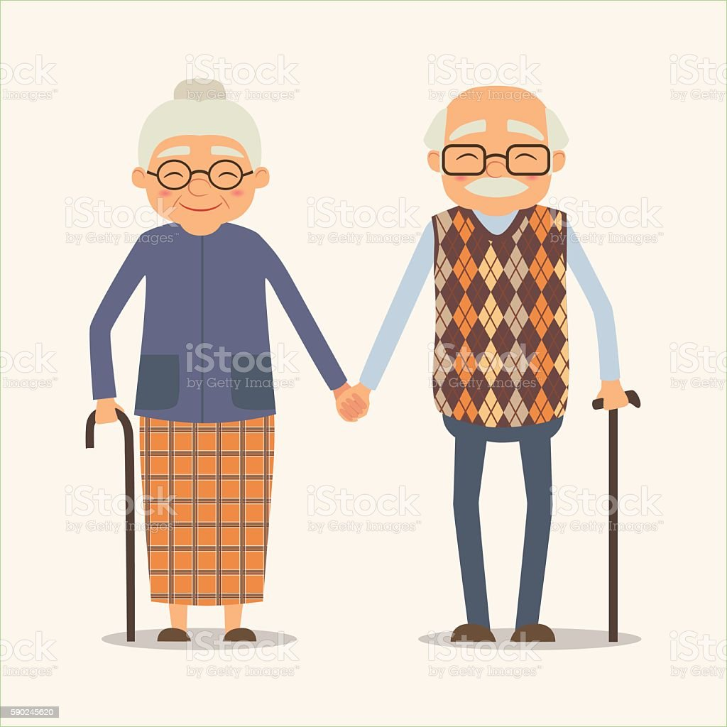 grandparents, vector image of happy couple in cartoon style vector art illustration