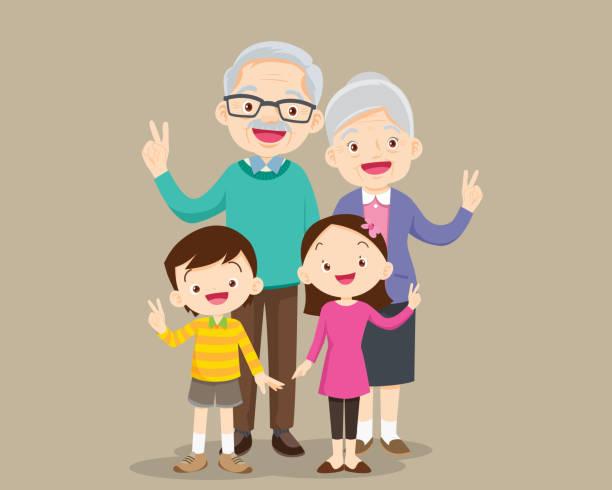 ilustraciones, imágenes clip art, dibujos animados e iconos de stock de abuelos con niños mano de la victoria - nietos