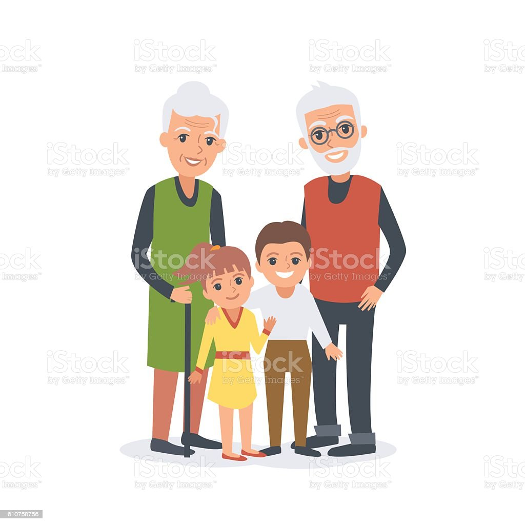 Grandparents with grandchildren vector art illustration