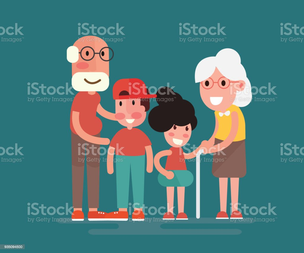 Grandparents with grandchildren vector art illustration