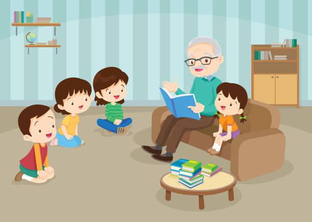 ilustraciones, imágenes clip art, dibujos animados e iconos de stock de abuelos con nietos leyendo en el sofá - nietos