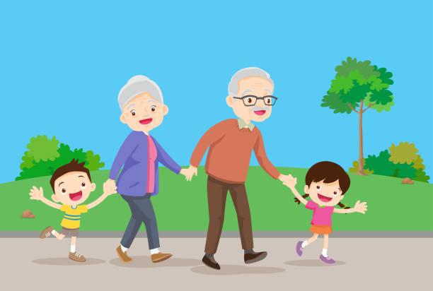 ilustraciones, imágenes clip art, dibujos animados e iconos de stock de abuelos con niños son caminantes en el parque - nietos