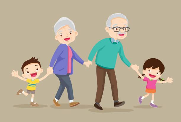 ilustraciones, imágenes clip art, dibujos animados e iconos de stock de abuelos con niños son caminantes - nietos