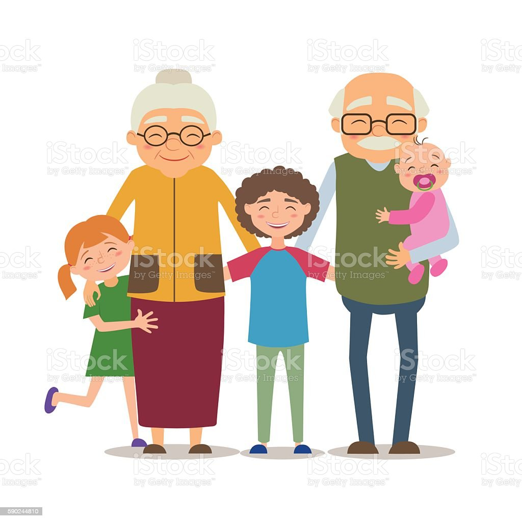 Grandparents with their grandchildren vector art illustration