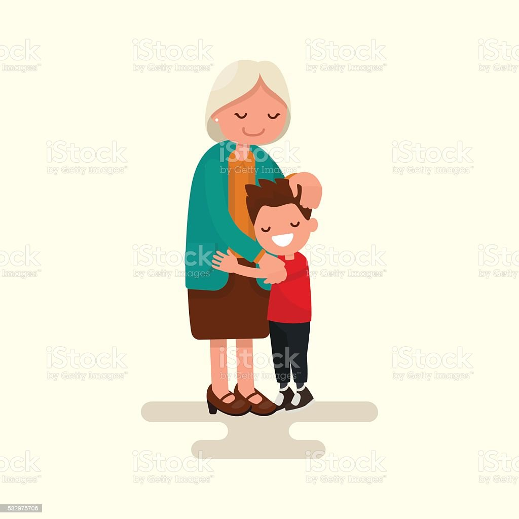 Grandson hugging his grandmother. Vector illustration vector art illustration
