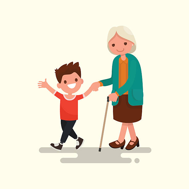 Grandson walking with his grandmother. Vector illustration vector art illustration