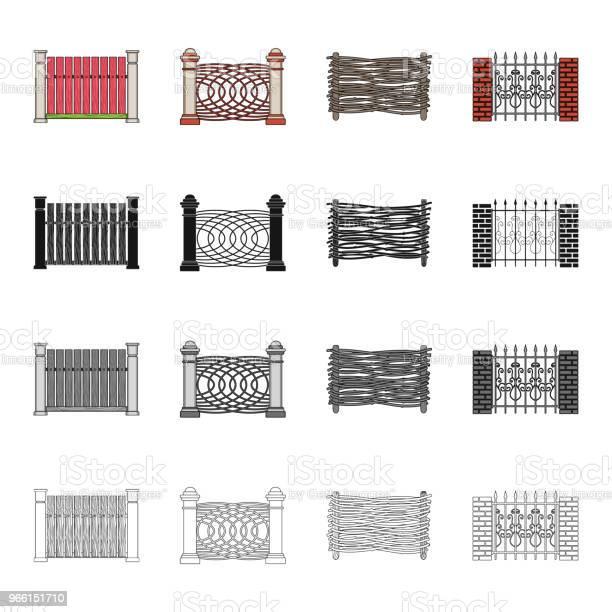 Granito Palizzata Palpante E Altre Icone Web In Stile Cartone Animato Recinzione Palo Pilastro Icone Nella Collezione Di Set - Immagini vettoriali stock e altre immagini di Calcestruzzo