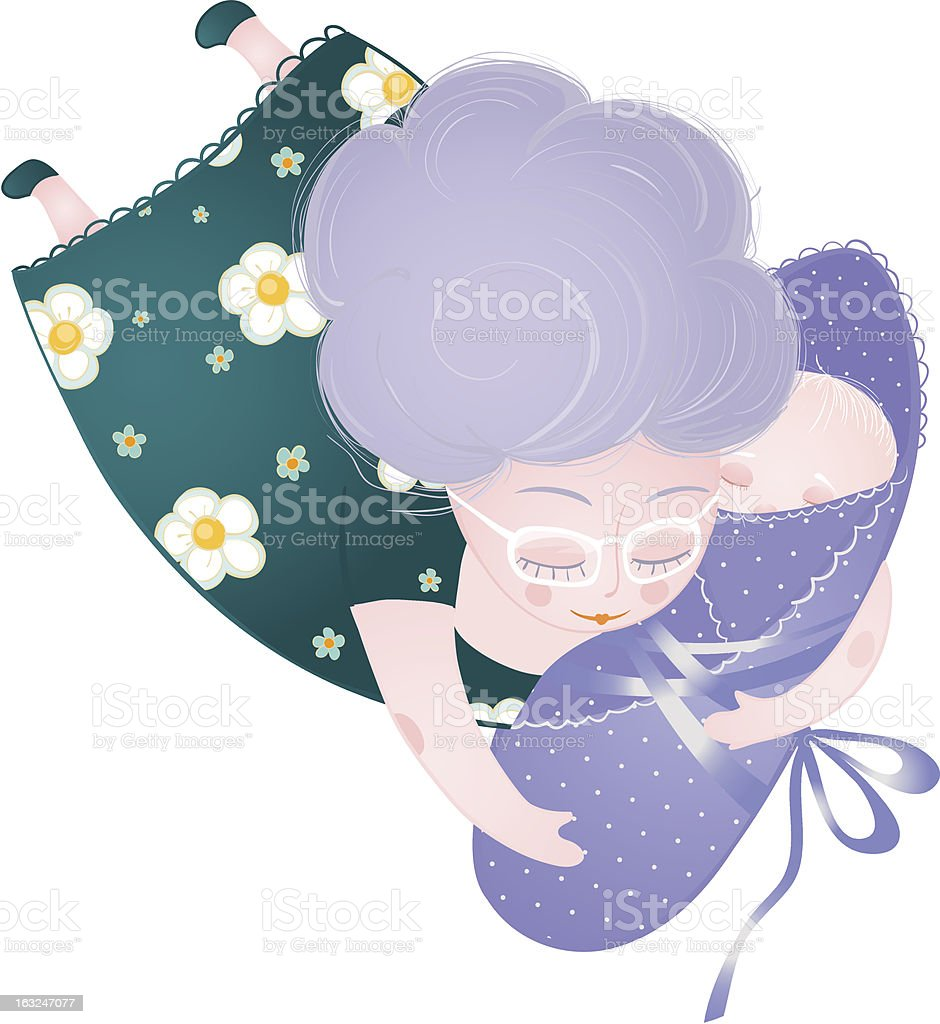 Granny and Child vector art illustration