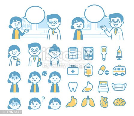 istock Granny and doctor and medical icons 1217973441