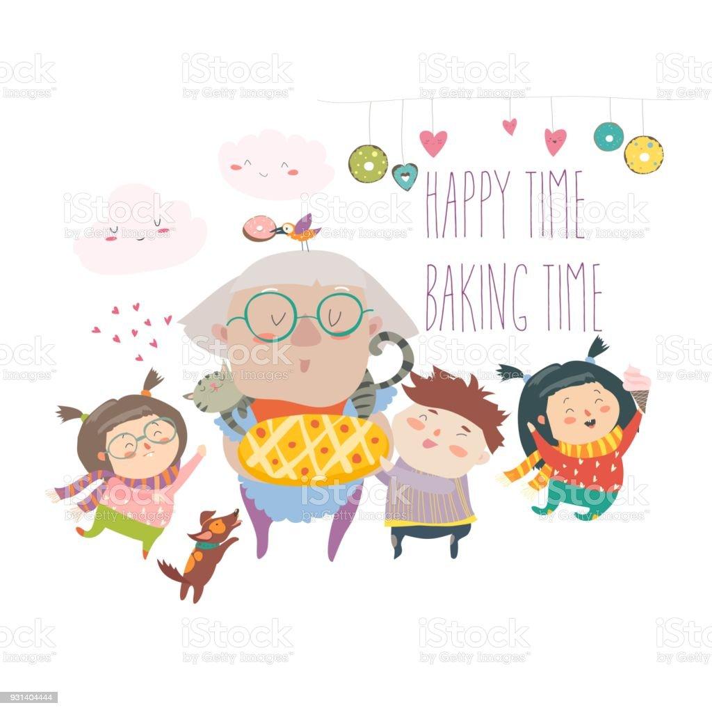 おばあちゃんと孫のケーキと ベクターアートイラスト