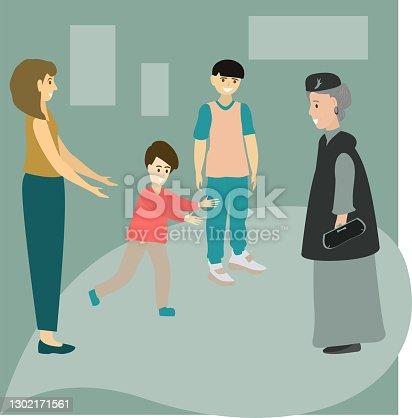 Granny arrived. Happy family moments. Mom and children joyfully meet grandmother. Vector illustration.