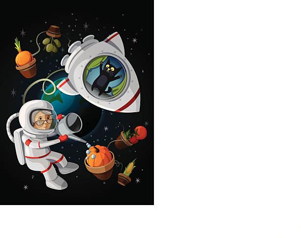 granny astranaut 美味しい野菜のオープンスペースを備えております。 - 宇宙探検点のイラスト素材/クリップアート素材/マンガ素材/アイコン素材