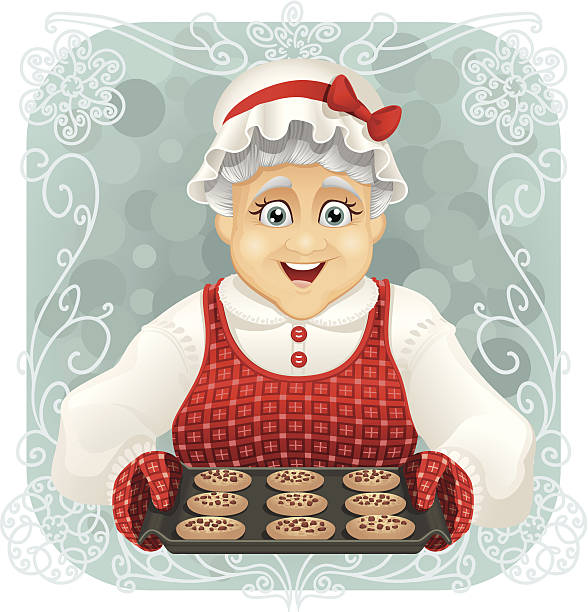 granny gebackene einige cookies - hauben stock-grafiken, -clipart, -cartoons und -symbole