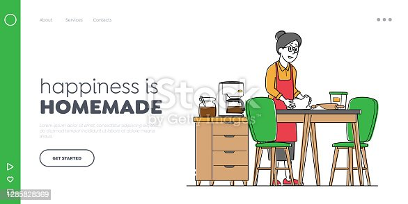 istock Granny Character Bake Patties Landing Page Template. Senior Woman Kneading Dough for Baking and Cooking Fresh Pies 1285828369
