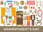 Granny day icons design illustration set. Flat old character people and adult items background concept. Vector elderly grandmother and grandfather house